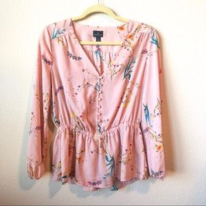 NWOT Pink Worthington Blouse with Cinched Waist